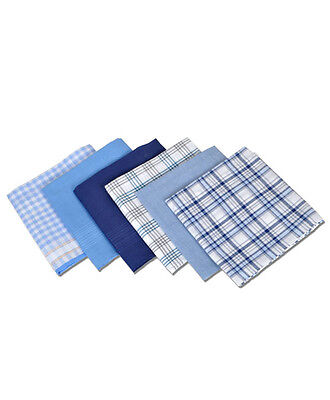 Men's 6pc. Solid & Plaid Fancy Cotton Handkerchiefs (MFB1516)