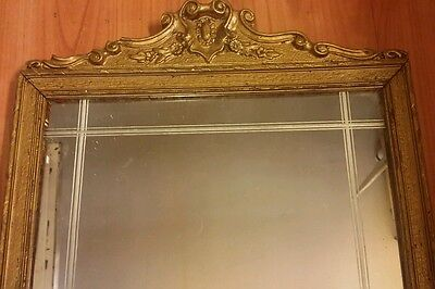 19th Century Gilt Wood Mirror Glass Ornate Antique American 24 x 12 inch Unique