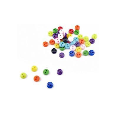 Buddly Crafts 5mm Miniature Round Buttons - 100pcs Mixed Colours B15