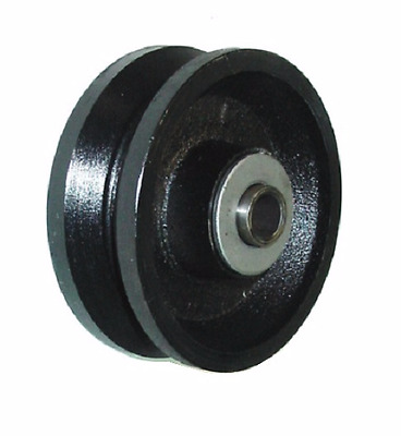 """One V-Groove 4"""" x 1-1/2"""" Iron Wheel with Roller Bearing, 600 lbs. Capacity"""