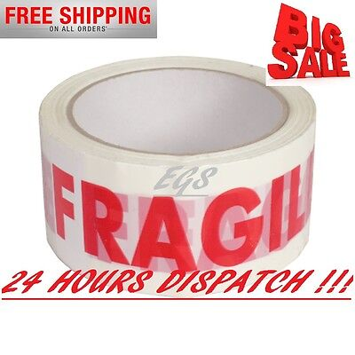72 Rolls Of Fragile Buff Parcel Packing*tape Packaging Carton Sealing 48Mm X 50M