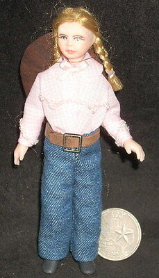 Dollhouse Miniature Cowgirl Girl Child Doll w/ Pink Shirt & Blue Jeans 1:12 1054
