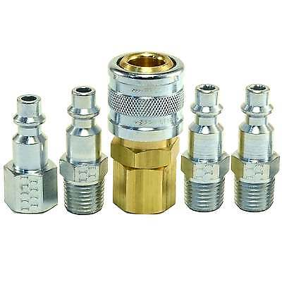 """5pc Heavy Duty Quick Coupler Set Air Hose Connector Fittings 1/4"""" NPT Tools Plug"""
