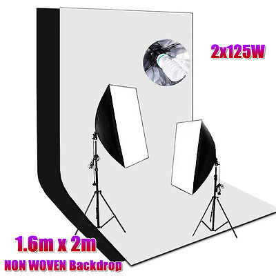 Studio Softbox Continuous Lighting Equipment Kit with Black White Backdrop Photo
