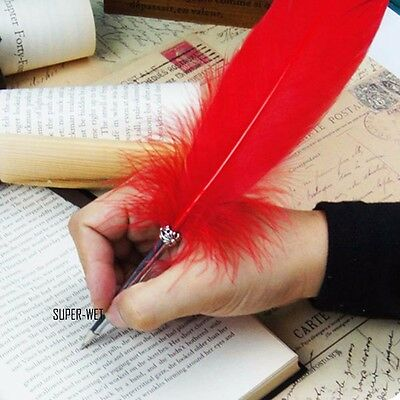 2 X Genuine Feather Quill Ballpoint Ball Pen Writing Vintage Gift 22cm Black/Red