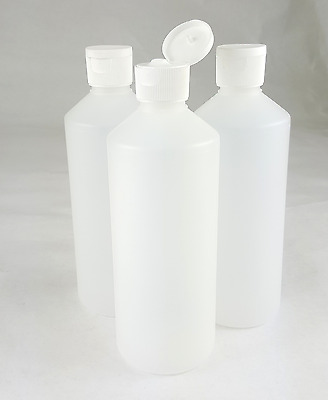 Plastic Bottles 500ml Clear w/ Flip Top Cap New HDPE Transparent Travel Size