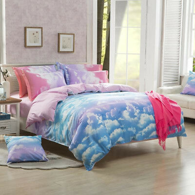 Cloud Nature Quilt/Doona/Duvet Cover Set Single Double/Queen/King Size Bed Linen