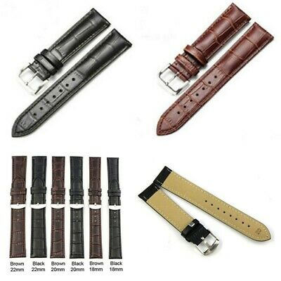 Durable Women Mens Leather Watch Strap Band Stainless Steel Buckle Black/Brown
