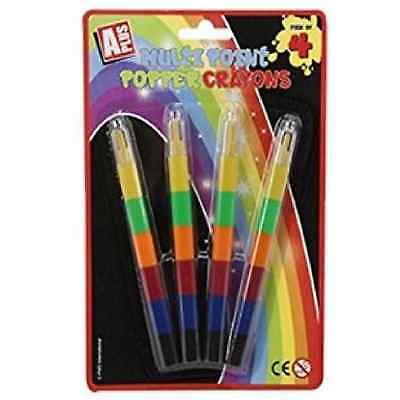 Multi Point Popper Crayons Interchangeable Swap Party Bag Filler 4 Pack Pencil