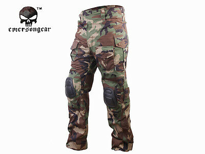 Emerson G3 Combat Pants w/ Knee Pads Airsoft Tactical Trousers Woodland EM7044