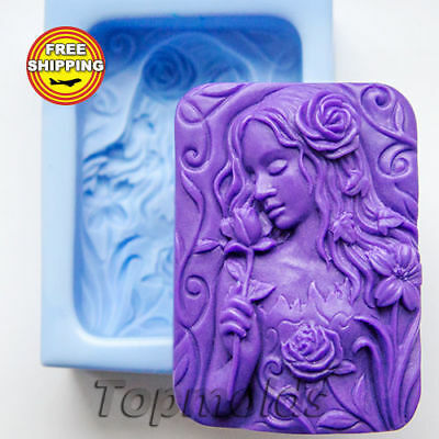 Girl and Flowers 2 Mold Soap Mold Silicone Molds Mold for Soap Free Shipping