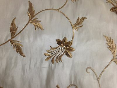 """Embroidered Silk Taffeta Cream or Ivory with Gold Flowers 58""""x84"""""""