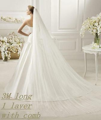 2016 White/ivory 3M Long 1T Wedding Bridal Cathedral Veil With Comb Veils
