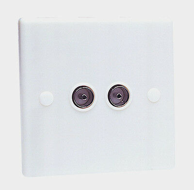 Double Aerial Coaxial TV Socket White Wall Face Plate - Twin/Dual Outlet