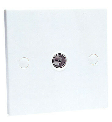 Single Aerial Coaxial TV Socket White Wall Face Plate First Class Post