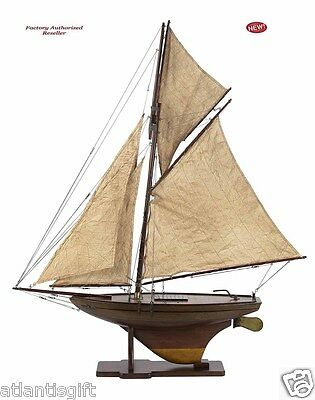 "Victorian Pond Yacht Assembled 37"" Built Wooden Sailboat Authentic Models Ship"