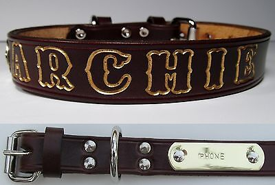 Brown Leather Small Dog Collar Personalized Pet Name Brass Plate ID  Tag