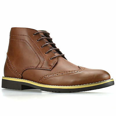 Mens New Smart Casual Lace Up Chelsea Dealer Work Ankle Brogue Boots Shoes Size