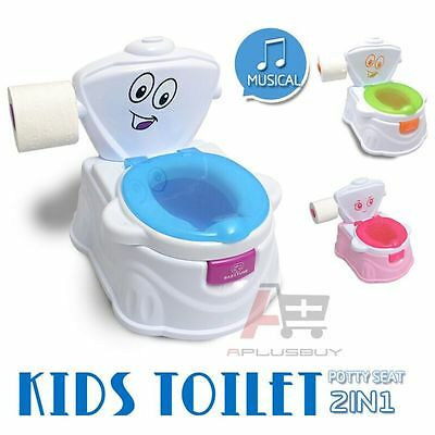 Kids Baby Toddler Toilet Training Trainer Potty Music Player Flush 2in1 Blue 1B