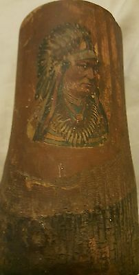 Vintage Native American Indian Chief  Souvenir Wooden Mug cup carved graphic