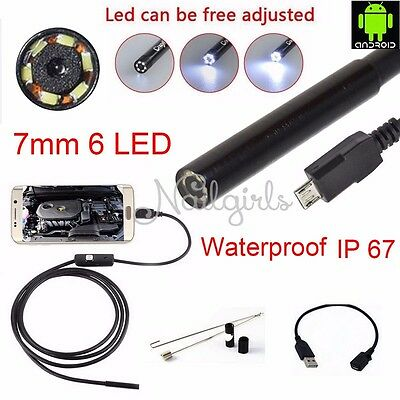7mm / 2m 5m Waterproof Android Endoscope Borescope Snake Inspection Video Camera