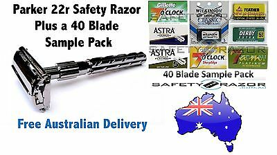 New Parker 22R Safety Razor + Blade Sample Pack and FREE Delivery