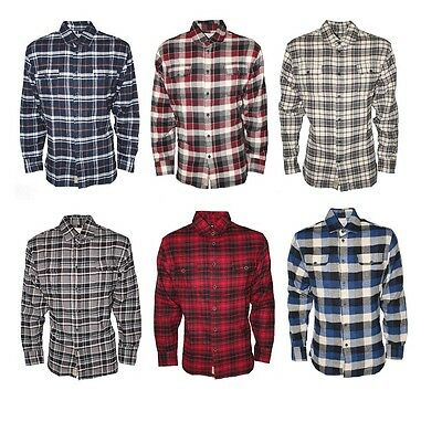 Men's Flannel Plaid Lumberjack Check 100% Cotton Casual Work Shirts Button Down