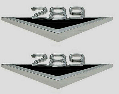 """1965 66 Mustang Ornaments Fender Emblems /""""289/"""" Chrome Plated w//Clips Pair 2pc"""