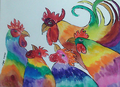 "Fridge Magnet, Quirky, Colourful cackling Cockerels, Hens  Large 4.25"" by 5.5"""