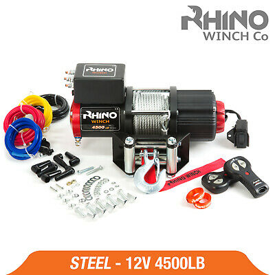 Rhino Electric Winch - 4500lb 12v Steel Cable - Heavy Duty, Boat, 4x4 Pulley