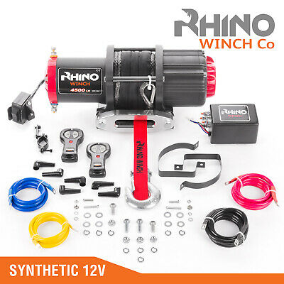 12v Electric Winch, 4500lb Synthetic Rope, Heavy Duty 4x4, ATV Recovery ~ RHINO
