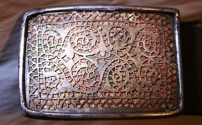 Tribal Commando Chic: Antique Turkoman Utility Belt  Fine Metal / Saddle Leather