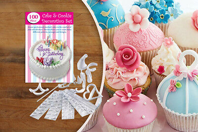 100 Piece Cake & Cookie Decoration Set Letter Stencils Icing Bags