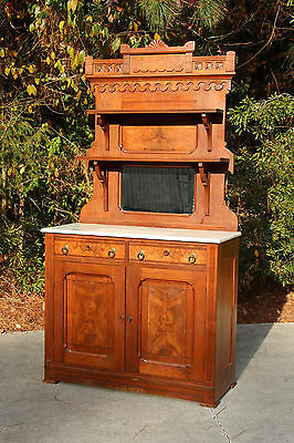Burl Walnut Victorian Marble Top Eastlake Sideboard with Fan Carved Crown Ca1880