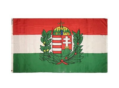 3X5 HUNGARY WITH CREST FLAG HUNGARIAN FLAGS BANNER F474
