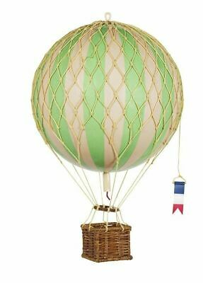 "Hot Air Balloon Model Green & White Striped 22"" Hanging Aviation Home Decor"