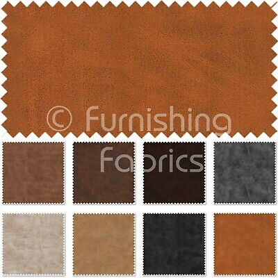 Hard Wearing Old Aged Look Faux Nubuck Leather Fabric Soft Semi Suede Material