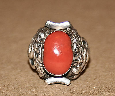 Silver/Coral Ring V Early 19th C. Nepali/Tibetan Saddle Shape Flanked w/ Dragons