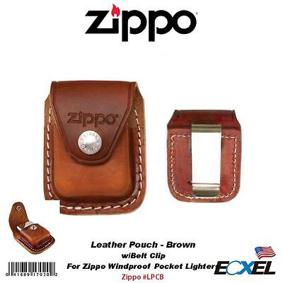Zippo LPCB, Metal Clip Brown Leather Pouch, For Windproof Lighters