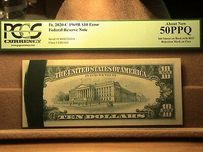1969-B,  $10.00 Federal Reserve Note Error. PCGS About New 50 PPQ.