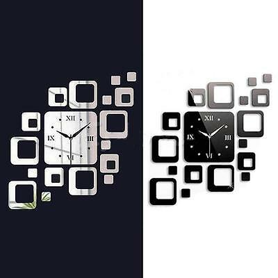 Creative Square Mirror Style Wall Clock Removable Decal Art Sticker Home New