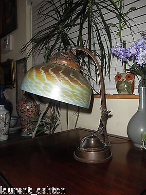 School Of Tiffany Studios Bronze Desk Lamp Favrile Damascene Aurene Quezal Shade