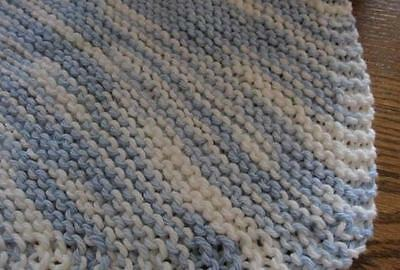 Hand Knit ~ 100% Cotton Durable Dishcloth ~ Blue White ~ New ~ Made in the USA