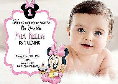 Printed baby minnie mouse 1st birthday invitations pink minnie party baby minnie mouse 1st birthday invitations print your own minnie party supplies filmwisefo