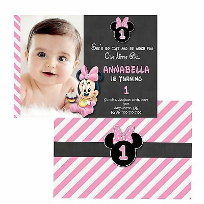 printed baby minnie mouse 1st birthday invitations pink minnie party