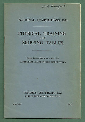 1947 Physical Training & Skipping Tables Girls' Life Brigade Booklet P/b
