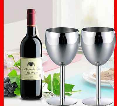 2x Premium Stainless Steel Wine Glass Glasses Cups Champagne Cup