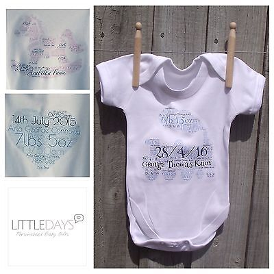 Personalised Baby Vest, Great New Baby Gift, Name,dob&weight !