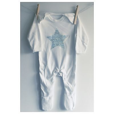 Personalised Baby Sleepsuit/Baby Grow clothes, Word Cloud Design!!