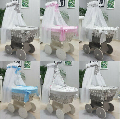 Tolo Wicker Moses Basket + Stand + Big Wooden Wheels + Bedding + Drape 13 Colour